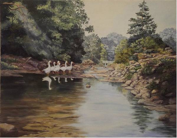 Landscape Art Print featuring the painting Mountain Home Creek by Wanda Dansereau