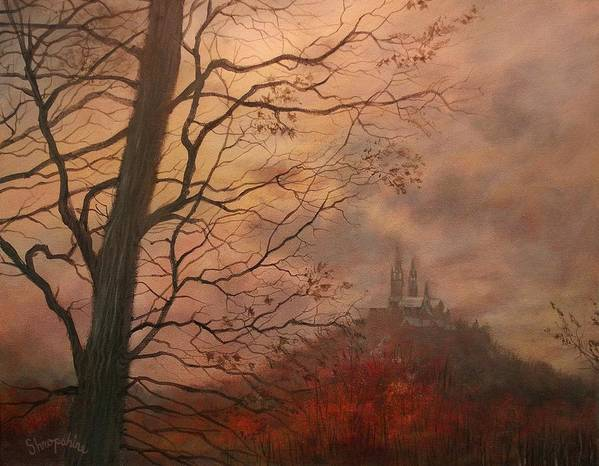 Holy Hill Art Print featuring the painting October At Holy Hill by Tom Shropshire