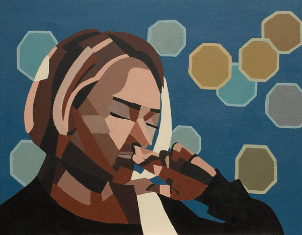 Geometric Art Print featuring the painting Pensive by Nicole Roggeman