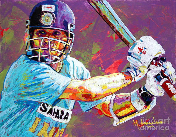Sachin Tendulkar Art Print featuring the painting Sachin Tendulkar by Maria Arango