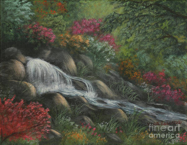 Landscape Art Print featuring the painting Flowing Waters by Kristi Roberts