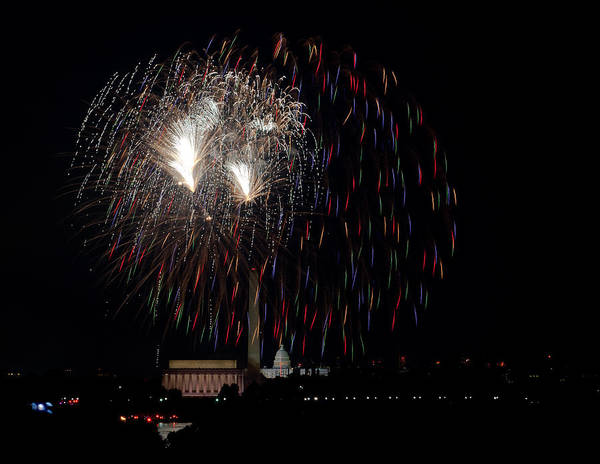 4th Of July Art Print featuring the photograph Raining Fire by David Hahn