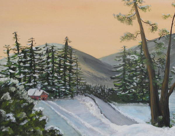 Winter Art Print featuring the painting Winter by Lessandra Grimley