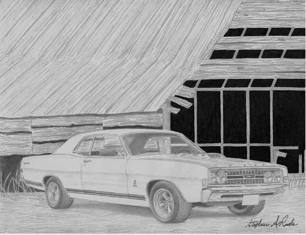 Rooks10904 Drawings Art Print featuring the mixed media 1968 Ford Fairlane Muscle Car Art Print by Stephen Rooks