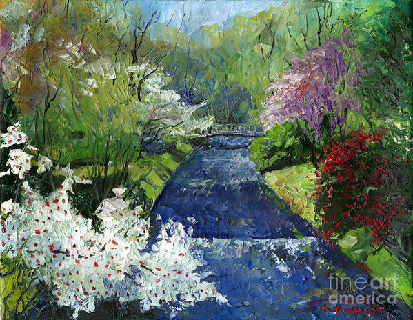 Oil Art Print featuring the painting Germany Baden-baden Spring by Yuriy Shevchuk