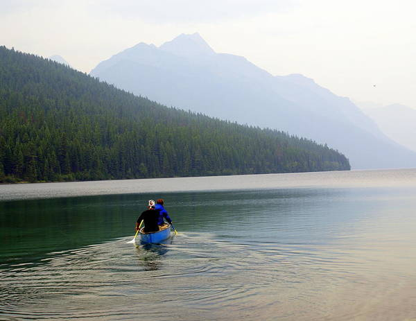 Mountains Art Print featuring the photograph Kintla Lake Paddlers by Marty Koch