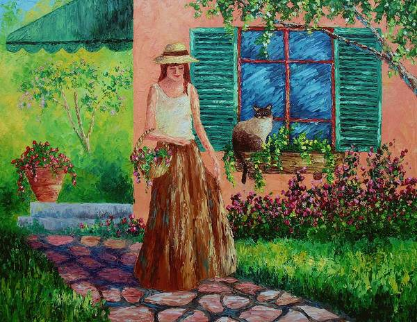 Woman Art Print featuring the painting Peaceful Thoughts by David G Paul