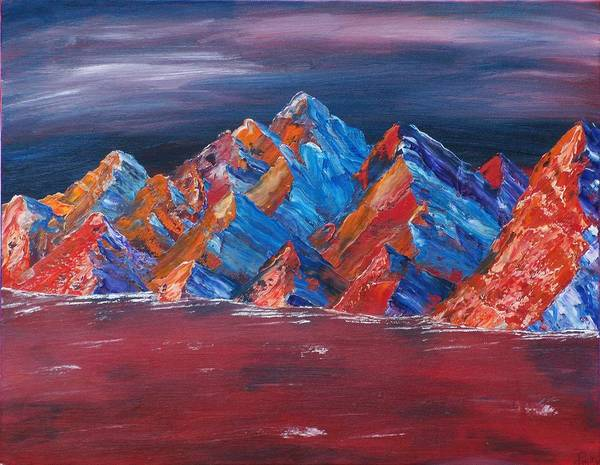Landscape Art Print featuring the painting Red Mountains by Kim Nelson