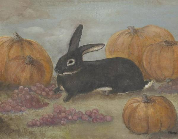 Rabbit Art Print featuring the painting Teddy by Kimberly Hodge