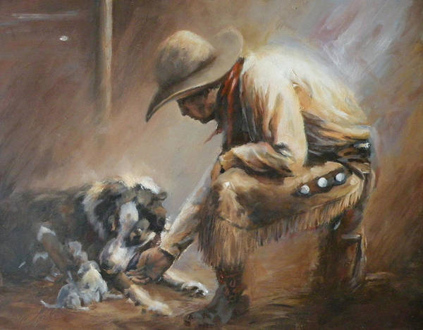 Cowboys Art Print featuring the painting Who's Your Daddy by Mia DeLode