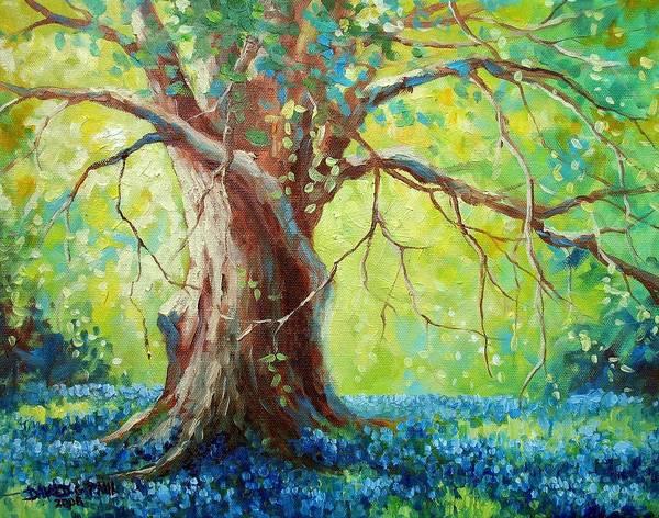 Bluebonnets Art Print featuring the painting Bluebonnets Under The Oak by David G Paul