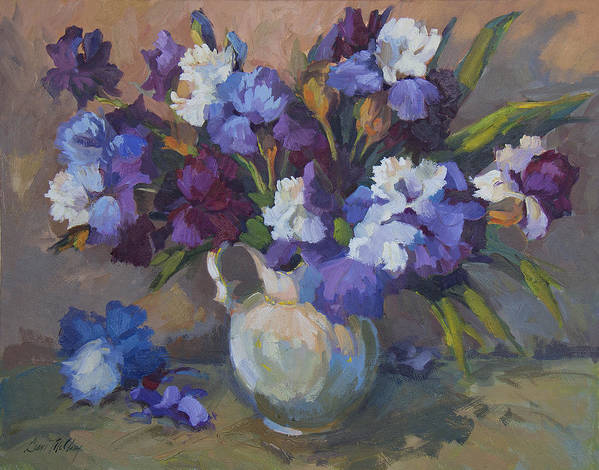 Irises Print featuring the painting Irises by Diane McClary