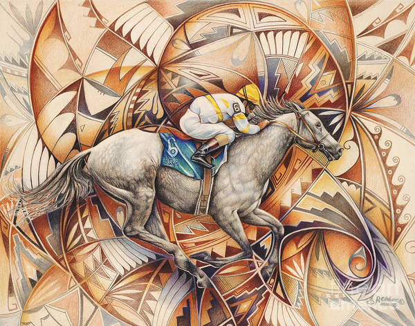 Colored-pencil Art Print featuring the painting Kaleidoscope Rider by Ricardo Chavez-Mendez
