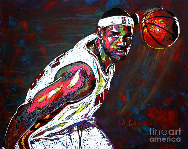 Lebron Art Print featuring the painting Lebron James 2 by Maria Arango