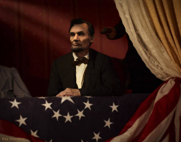 Abraham Lincoln Art Print featuring the digital art Lincoln At Fords Theater 2 by Ray Downing