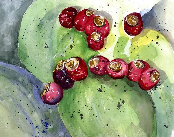 Cactus Art Print featuring the painting Prickly Pear Fruit by Marilyn Barton