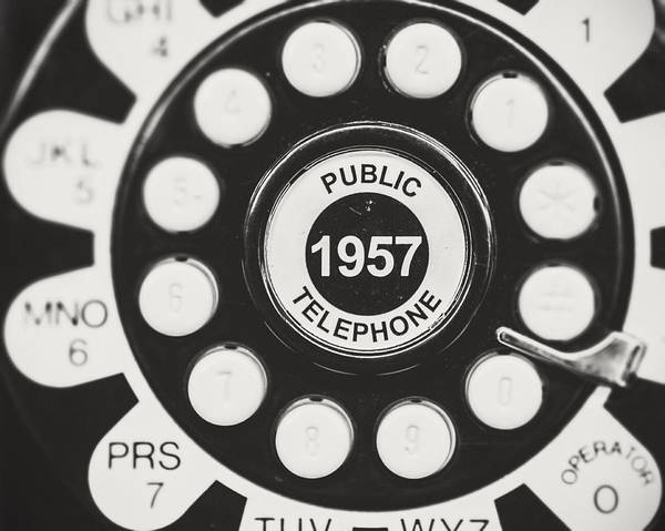 Telephone Art Print featuring the photograph Public Telephone 1957 In Black And White Retro by Lisa Russo