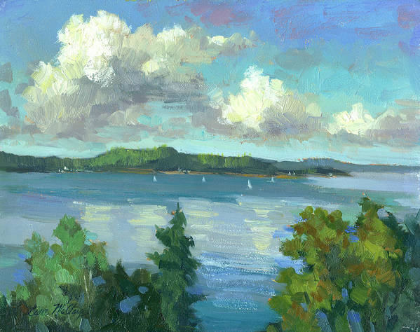 Sailing On Puget Sound Art Print featuring the painting Sailing On Puget Sound by Diane McClary