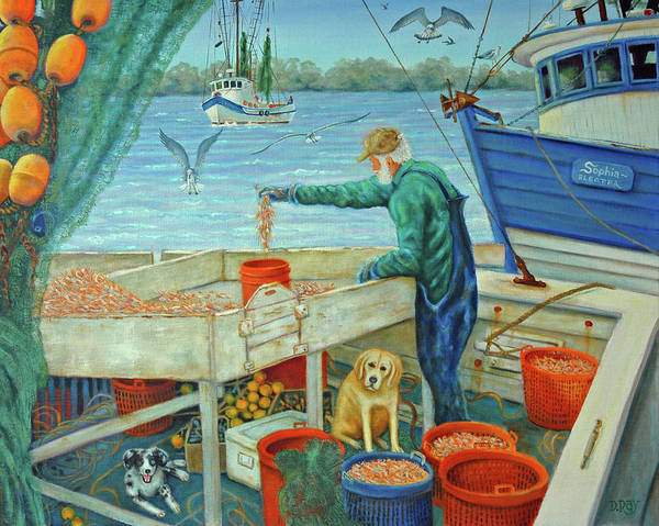 Shrimp Art Print featuring the painting Sorting Shrimp At Frogmore by Dwain Ray