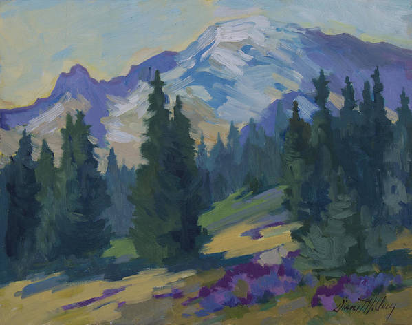 Mount Rainier Art Print featuring the painting Spring At Mount Rainier by Diane McClary