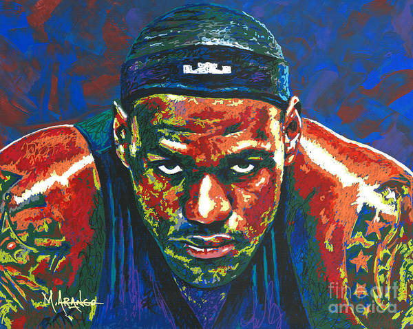 Lebron Art Print featuring the painting The Lebron Death Stare by Maria Arango