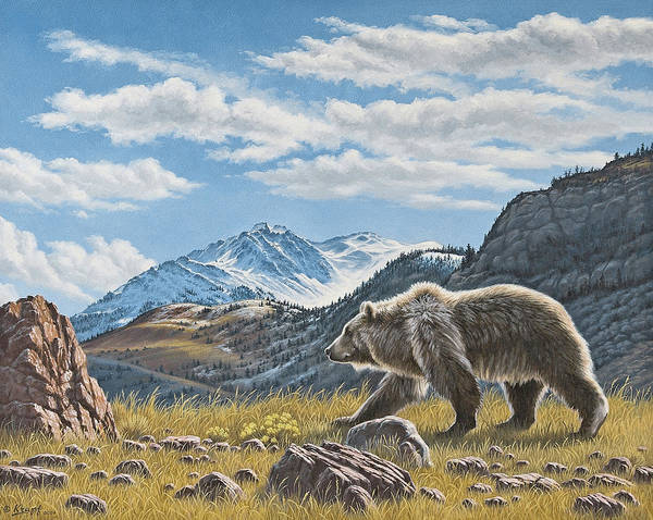 Wildlife Art Print featuring the painting Walking The Ridge - Grizzly by Paul Krapf