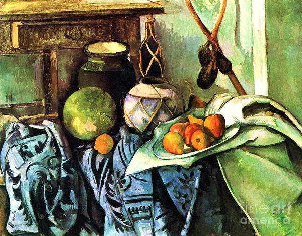 Pd Art Print featuring the painting Ginger Jar And Eggplants by Pg Reproductions