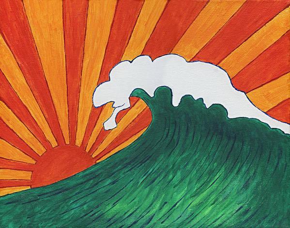 Sunrise Sunset Japanese Wave Surf Foam Rays Light Green Sea Orange Sky Art Print featuring the painting Sunrise Sunset by Maureen Ritzel