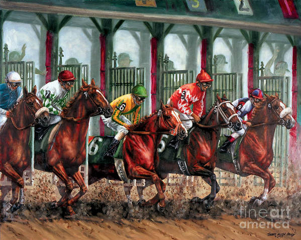 Art Print featuring the painting And They're Off by Thomas Allen Pauly