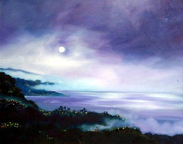 Night Art Print featuring the painting Approaching Fog by Dorothy Nalls