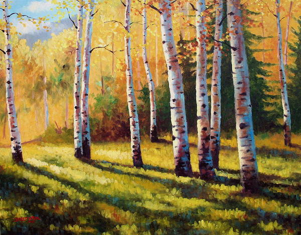 Landscape Art Print featuring the painting Autumn Shade by David G Paul