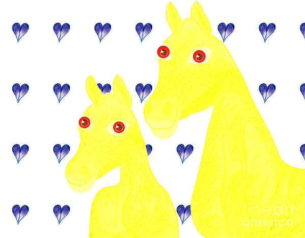 Horses Art Print featuring the painting Bee And Bella by Tess M J Iroldi