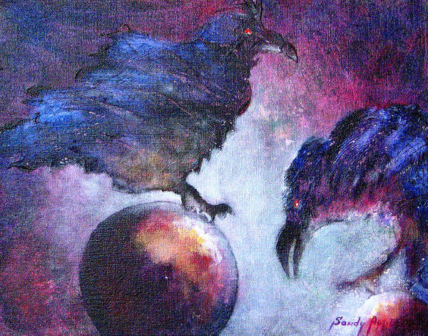 Raven Art Print featuring the painting Bird Or Fiend by Sandy Applegate