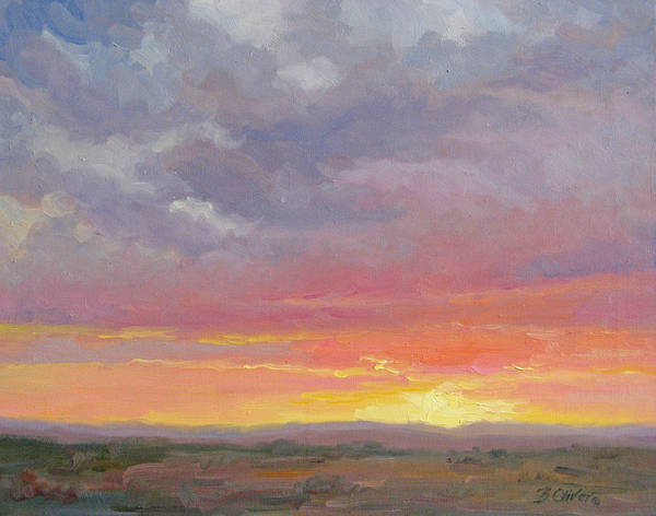 Sunset Art Print featuring the painting Desert Sundown by Bunny Oliver