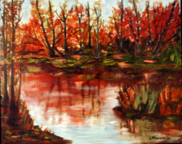 Landscape Art Print featuring the painting Fall Reflections by Lia Marsman