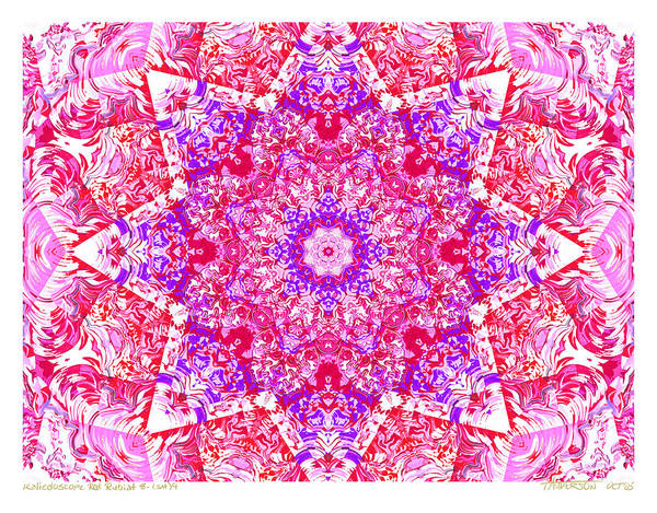 Kaleidoscope; Mandala; Valentine Colors; Red Art Print featuring the digital art Kaleido Red Rubi 8 by Terry Anderson
