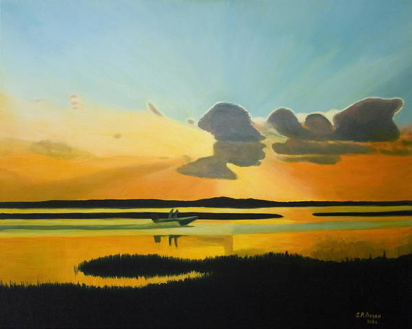 Seascape Art Print featuring the painting Laura's Sunset by Stephen Degan