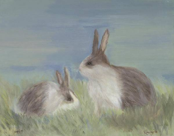 Bunny Art Print featuring the painting Love Buns by Kimberly Hodge