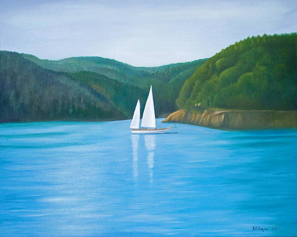 Seascape Art Print featuring the painting Mason's Sailboat by Stephen Degan