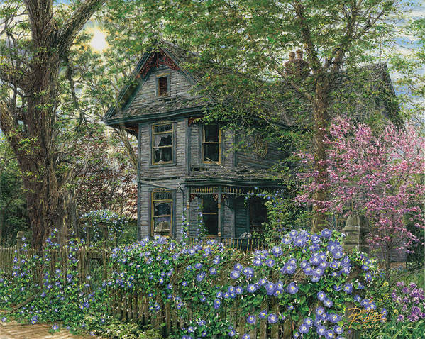 Old House Print featuring the painting Morning Glory by Doug Kreuger