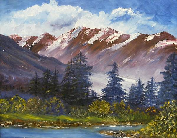 Oil Painting Art Print featuring the painting Mountains I by Lessandra Grimley