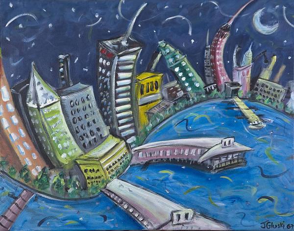 New York City Manhattan Hudson River Art Print featuring the painting New York City Skyline Hoboken by Jason Gluskin