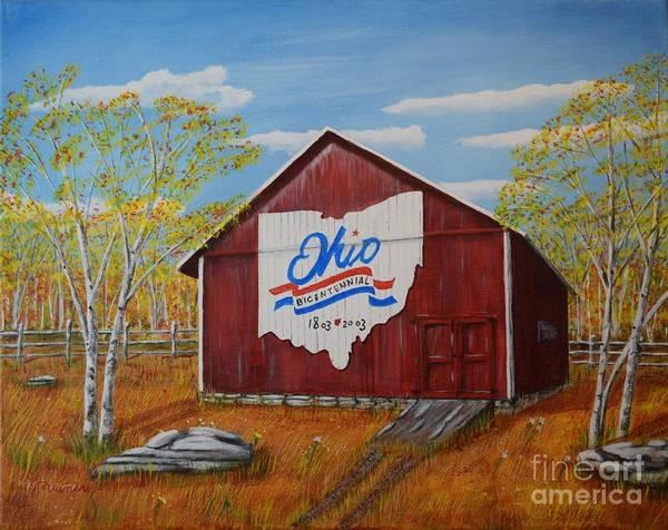 Bicentennial Barns Ohio Art Print featuring the painting Ohio Bicentennial Barns 22 by Melvin Turner