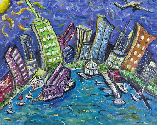 New York City Art Print featuring the painting On The Hudson by Jason Gluskin