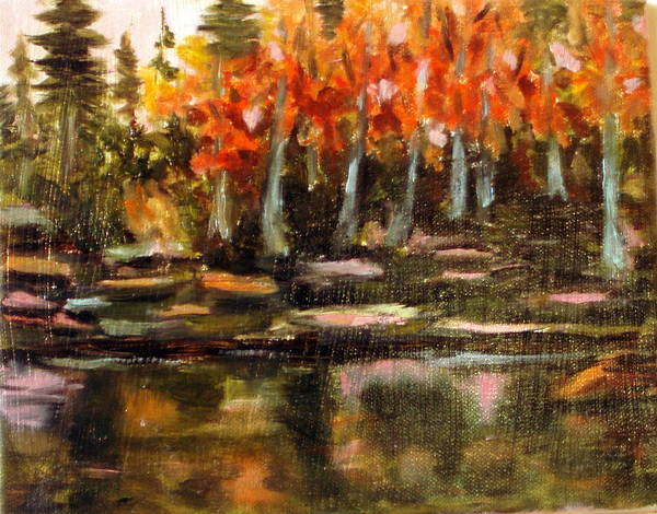 Fall Art Print featuring the painting Pond 1 by Lia Marsman