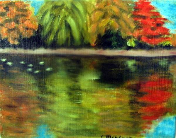 Fall Art Print featuring the painting Pond 2 by Lia Marsman