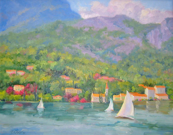 Seascape Art Print featuring the painting Sailing - Lake Como by Bunny Oliver