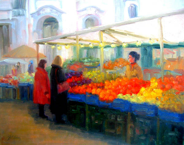 Market Art Print featuring the painting Salzburg Shoppers by Bunny Oliver