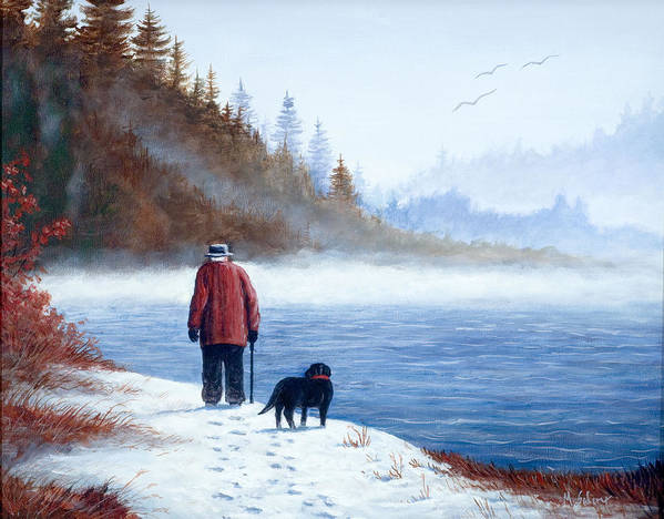 Landscape With Man And Dog Art Print featuring the painting Sojourn by Michael Scherer