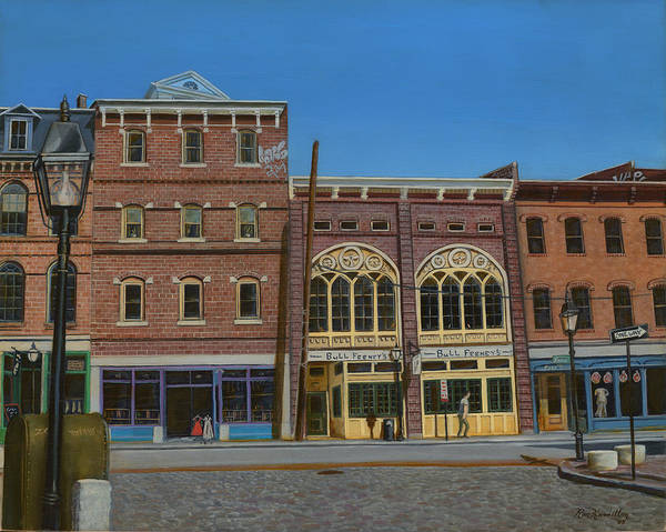 Cityscape Art Print featuring the painting Tavern In Old Port by Ron Hamilton